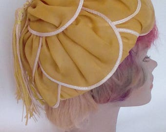 Vintage Hat 60s by Mitzi Lorenz of London - collectable 1960s space age hat with tassles mustard gold colour