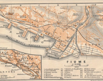 1905 Rijeka Croatia Antique Map