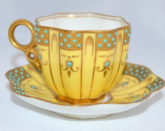 Antique Jeweled COALPORT Demitasse Cup Saucer Enamel Hand Painted Teacup Saucer Blue Yellow Rare English Set Anderson Sterling Enamel Spoon