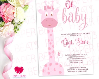 BABY SHOWER INVITATION - Oh Baby Invitation - Digital Baby Shower Invitation - Pink Giraffe Baby Shower - Giraffe Theme  - Double Sided
