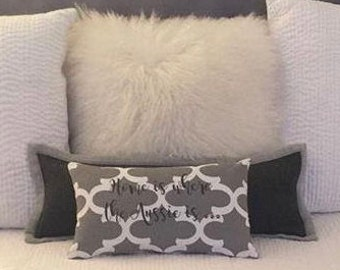 Grey Throw Pillow || Home is Where to Aussie is Quatrefoil Accent Pillow Cover || Square Decorative Pillow by Three Spoiled Dogs