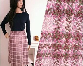 Vintage 60's Pink Glen Lockhart Scottish Wool Tweed Checked Geo Skirt / UK 8 / EU 36 / US 4
