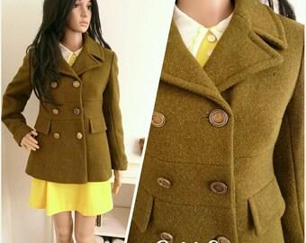 Vintage 60s 70s Mansfield Khaki Green Wool Military Pea Jacket Coat Mod / UK 8 10 / EU 36 38 / US 4 6