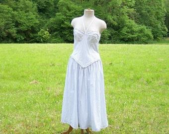 Marc KEHNEN corset dress fine stripes blue on white bottom  vintage Made in Germany wedding dress summer dress