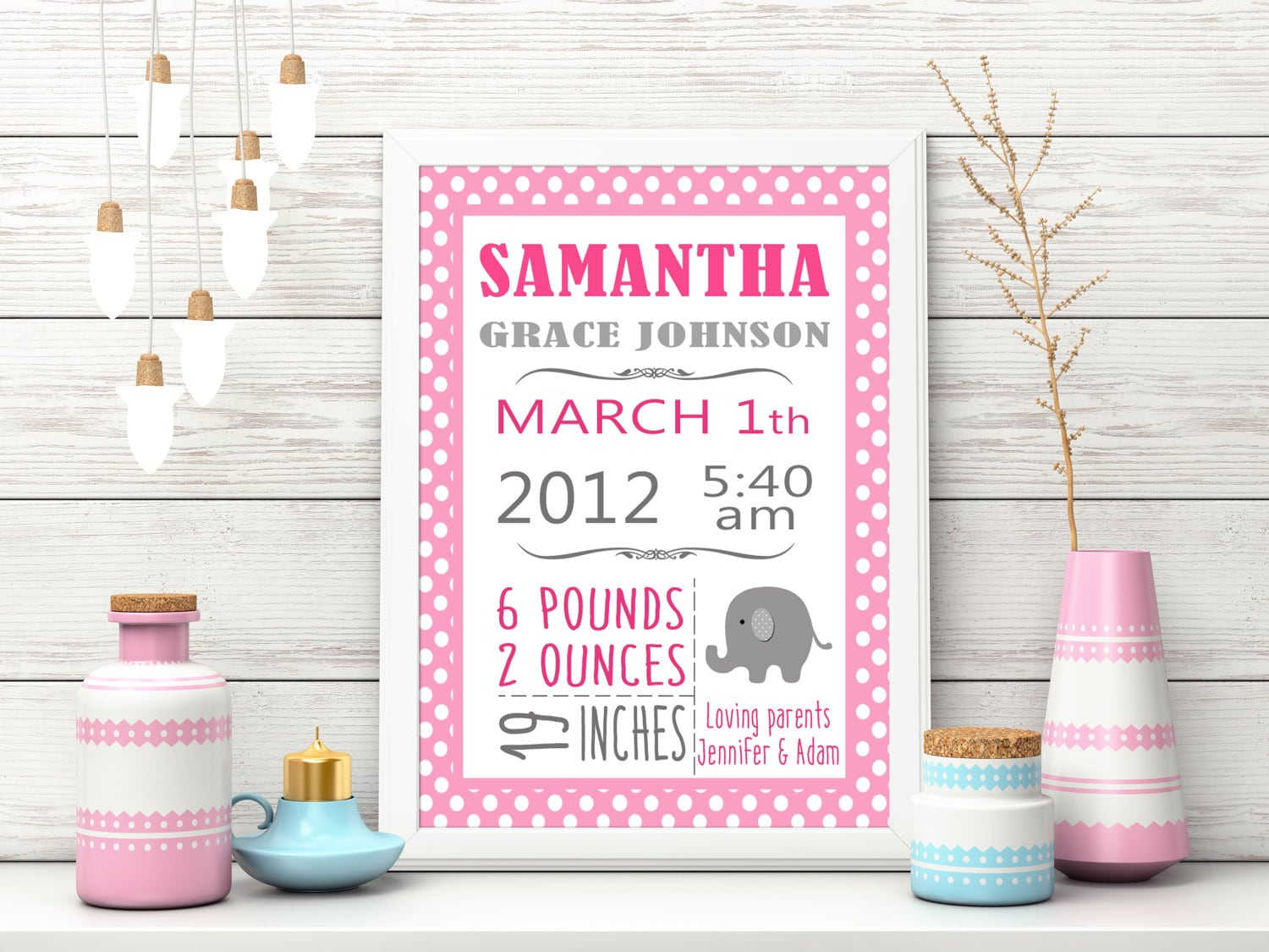 Personalized Birth Stats Custom Baby Girl Birth Stats Pink