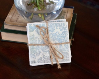 Reclaimed Ceramic Tile Custom Drink Coasters Barware Kitchenware Tableware Wedding Housewarming Hostess Gift Vintage Inspired Paper SET OF 4