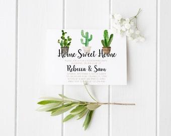 Housewarming Invitation Cactus Succulents Pot Housewarming Invitation Home Sweet Home Home Party House Party New Home Party Printable