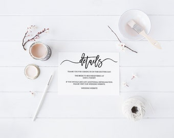 Details Information Card Black and White Details Card Modern Details Card Wedding Details Printable Details Card Bridal Shower Details Card