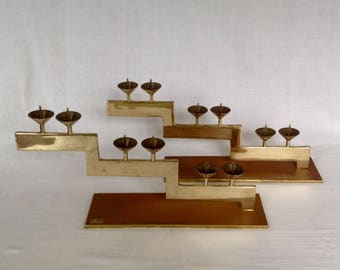 Pair of Dolbi Cashier Brass Geometric Candelabras