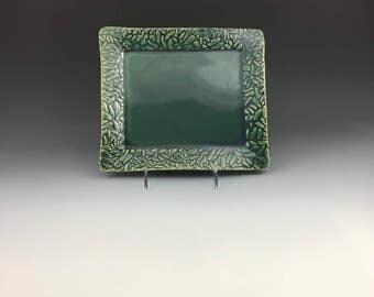 Handbuilt ceramic green appetizer platter or plate