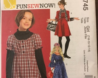 McCalls M5745 - Little Girls Pullover Dress with Button Front Bodice and Raised Waist - Size 7 8 10 12 14