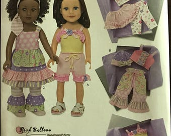 "Simplicity 1296 - Pink Balloon Doll Cloths Collection with Ruffles and Contrast Fabric - 18"" Doll"