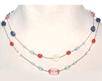 Multi Strand Necklace / Bead Station Chain Necklace - Multi strand / Colorful - Pink / Red / Blue / Light Blue / Simple