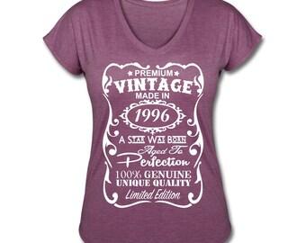 21st Birthday for Her - 21st Birthday Gift for Girls **VELVETY PRINT** *Tri-Blend Colors* Made in 1996 design V-neck Shirt - Birthday Gift