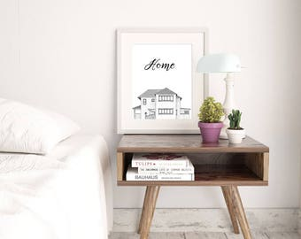 Custom House Drawing | Hand Drawn Pen and Ink Portrait of Your Home