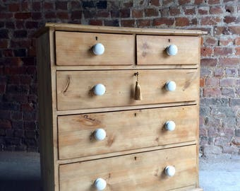 Fabulous Antique Chest of Drawers Dresser Solid Pine Victorian 19th Century
