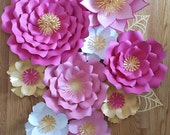 Nursery wall paper flowers, pink paper flower backdrop, Paper flowers over the crib, Baby Girl Room Paper Flowers, Baby Room Wall Decor