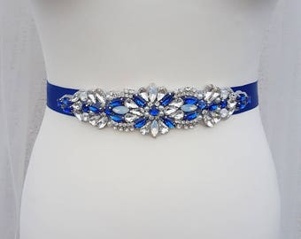 Blue bridal belt, wedding belt, blue bridal sash, blue sash belt, navy belt, navy bridal sash, bridal sash, bridal belt, royal blue wedding