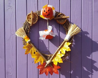 Samhain Door Hanger, Halloween Wreath, Autumn Wall Decor, Mabon Home, Spooky Decoration, Witch Protection, Miniature Pumpkins, Broomstick