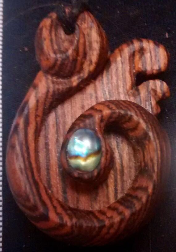 wood necklace, maori pendant, tribal necklace, worry pendant, thread cutter