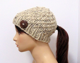 Ponytail Beanie - Low Ponytail Hat Chunky Knit Hat with Pony Tail Hole Hat Gift for Her Made in Alaska Gift Neutral Tweeds Collection