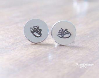 Cute Fox Stuff, Fox Wedding Gift, Fox Earrings Silver Stud Earrings, Silver Fox Earrings, Fox Stud Earrings