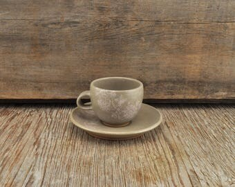 Stoneware espresso / tea cup and saucer with vintage pink flower illustration