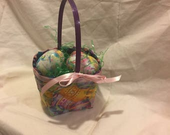 Small  Fabric Covered Easter Basket with 3  Swirl Marble Painted  Painted Eggs