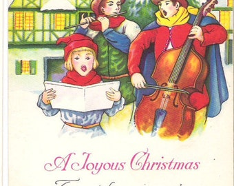 Antique Christmas Postcard 1932 Christmas Carollers  C39