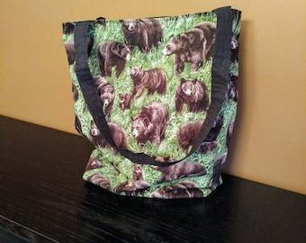 kids nature tote bag - bear tote bag - bear themed gift - bear fabric