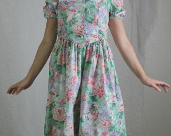 80s Green Floral Lolita Dress // Vintage Easter Girly Lace Collared Midi Dress // Size: S