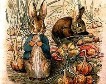 Peter Rabbit & Benjamin Bunny In The Onion Patch by Beatrix Potter,Adorable for a child's room or Nursery decor Reproduction Print