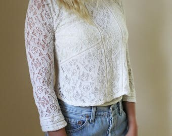 Boho Hippie Vintage Sheer Lace Crop Top Cream Edwardian Antique Avant Garde High Fashion Blouse Top