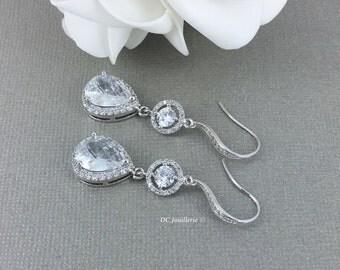 Dangle Earrings Bridal Party Bridal Earrings Statement Earrings Wedding Earrings CZ Jewelry Rhinestones Earrings Gift for Her Drop Earrings