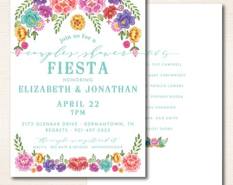 Floral Fiesta Theme Shower Invitation // Double-sided