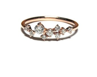 Gold Ring - Rose Gold Ring - Dainty Zirconia Ring - 925K Silver Ring