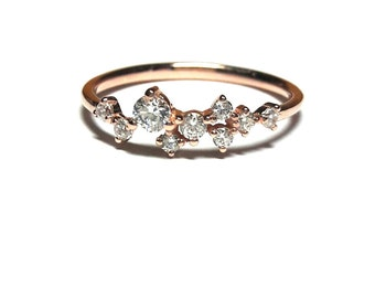 Gold Ring - Rose Gold Ring - Dainty Zirconia Ring - 925K Silver Ring