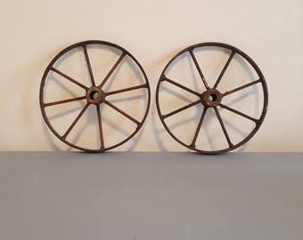 Vintage metal wagon farm cart wheels