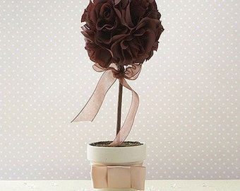 Wedding Venue Decoration, Aisle Marker, Outdoor Wedding Venue, Rich Chocolate Brown Fabric Topiary Tree In Ivory Coloured Pot
