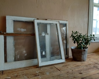 One architectural salvage window, vintage window with chippy paint