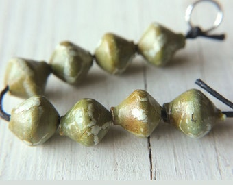 Tribal beads, 8 Faux ceramic bicones, Artisan boho beads, Crackle beads,Olive green gray Rustic clay beads,Ethnic bicones,Faux ancient beads