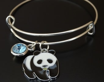 Panda Bangle Bracelet, Adjustable Expandable Bangle Bracelet, Panda Charm, Panda Pendant, Panda Jewelry, Panda Bear Bracelet, Panda Lover