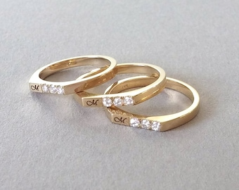Gold initial ring, Personalized stacking rings, initial stacking rings, white gold initial ring, custom ring, Yellow gold initial ring