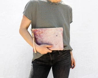 Hand Dyed Canvas Zipper Clutch with Wristlet