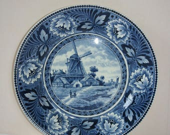 Delft Blue wall plate /hanging plate Dutch windmill