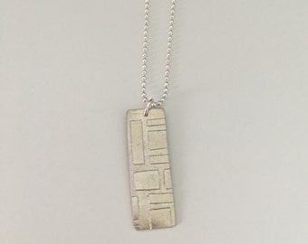 Squares on a rectangle, geometric pattern, necklace, fine silver with a sterling silver chain