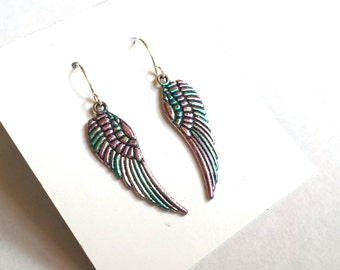 Native American South Western Feather Earrings, Colorful Alcohol Ink Metal Hippie Jewelry, Multi-Colored Audubon Free Spirit Beach Earrings.