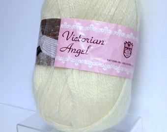Vintage Victorian Angel Mohair Blend Yarn, Cornsilk Yellow Yarn, Fine Yarn for Knitting Crocheting or Fiber Art Projects, Large Yarn Skein