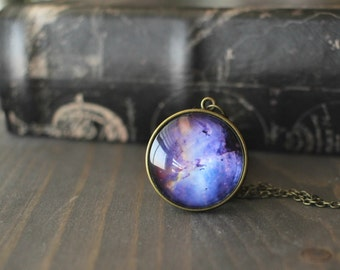Space Necklace, Nebula Galaxy Necklace, Space Jewelry Pendant, Purple Blue Galaxy, Glass Dome, Outer Space Necklace, Eagle Nebula