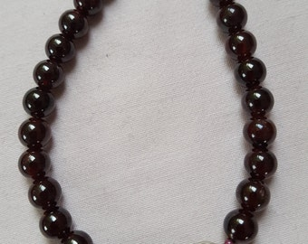Garnet beads with silver Tulip